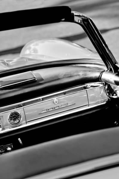 Wall Art - Photograph - 1961 Mercedes-benz 300 Sl Roadster Dashboard Emblem by Jill Reger