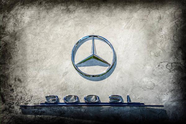 Wall Art - Photograph - 1961 Mercedes Benz 300sl Roadster Emblem -0585ac by Jill Reger