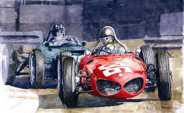 Wall Art - Painting - 1961 Monaco Gp #36 Ferrari 156 Ginther  #18 Brm Climax P48 G Hill by Yuriy Shevchuk