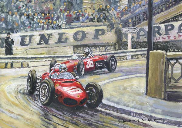 Wall Art - Painting - 1961 Monaco Gp Ferrari 156 #40 Trips #36 Ginther by Yuriy Shevchuk