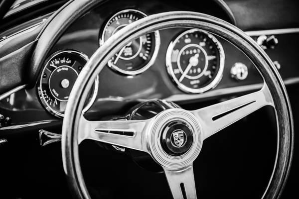 Photograph - 1961 Porsche 356 B Roadster Steering Wheel Emblem -1988bw by Jill Reger