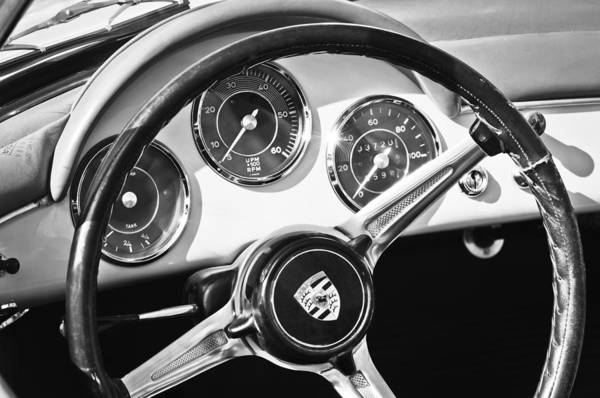 Photograph - 1961 Porsche 356b 1600 Super Steering Wheel Emblem -1712bw by Jill Reger