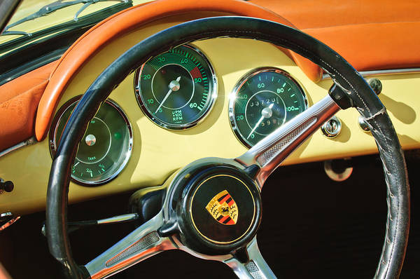 Photograph - 1961 Porsche 356b 1600 Super Steering Wheel Emblem -1712c by Jill Reger