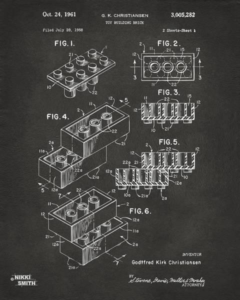 Wall Art - Digital Art - 1961 Toy Building Brick Patent Art - Gray by Nikki Marie Smith