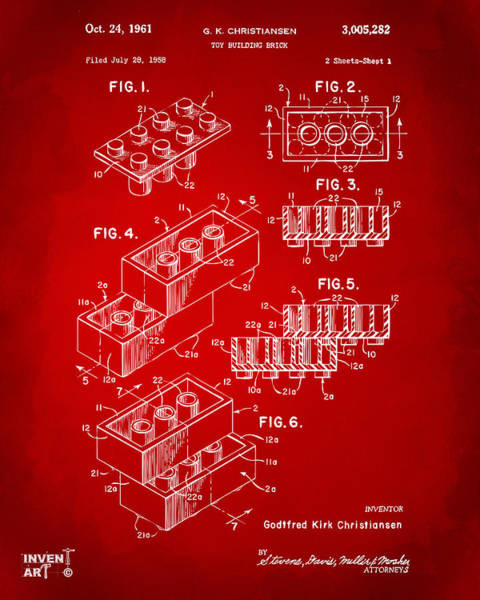 Wall Art - Digital Art - 1961 Toy Building Brick Patent Art Red by Nikki Marie Smith