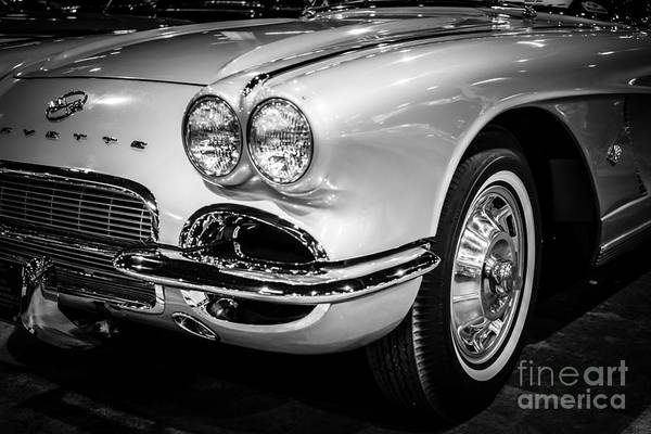Sportscar Photograph - 1962 Corvette Black And White Picture by Paul Velgos