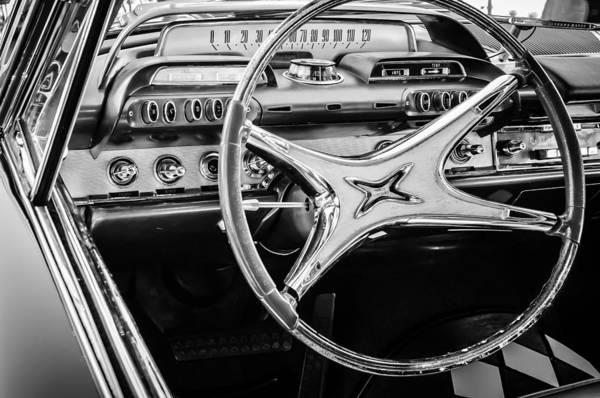 Photograph - 1962 Dodge Polara Steering Wheel -0092bw by Jill Reger
