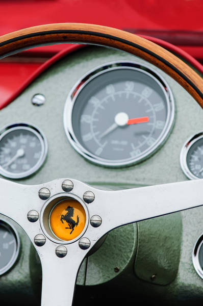Photograph - 1962 Ferrari 196 Sp Dino Fantuzzi Spyder Steering Wheel Emblem by Jill Reger