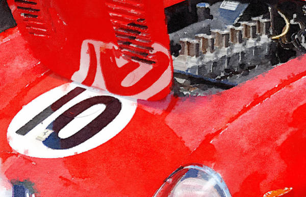 Car Mixed Media - 1962 Ferrari 250 Gto Engine Watercolor by Naxart Studio