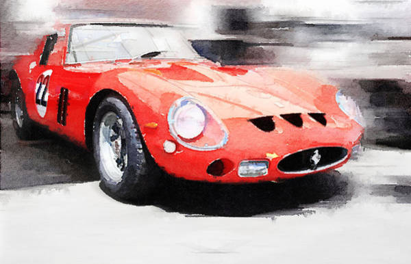 Car Mixed Media - 1962 Ferrari 250 Gto Watercolor by Naxart Studio