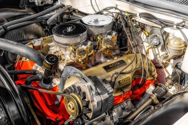 Street Rods Photograph - 1962 Impala Ss 409 Engine by Frank J Benz