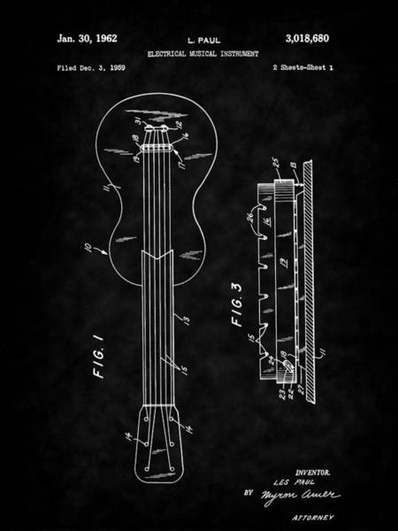 Drawing - Guitar - Les Paul - 1962 Les Paul Guitar Patent Art by Barry Jones