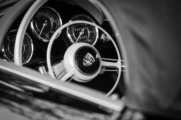 Photograph - 1962 Porsche 356 1600 Bt6 Roadster Steering Wheel -0696bw  by Jill Reger