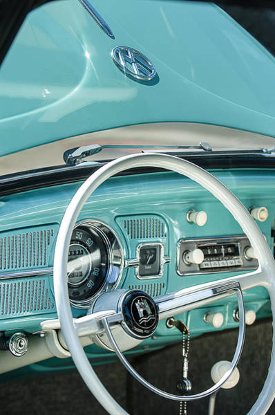1962 Volkswagen Vw Beetle Cabriolet Steering Wheel Art Print