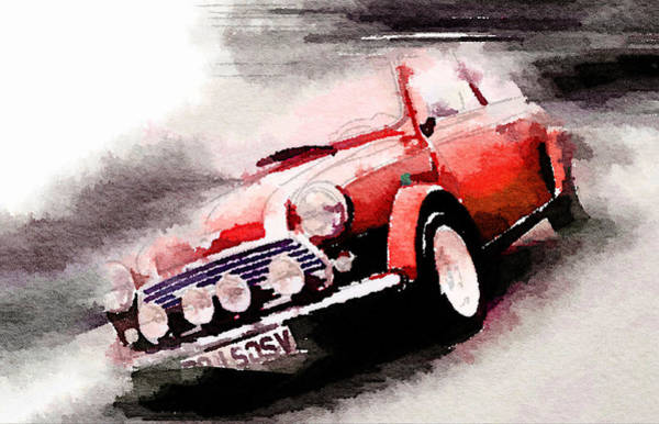 Mini Cooper Wall Art - Painting - 1963 Austin Mini Cooper Watercolor by Naxart Studio