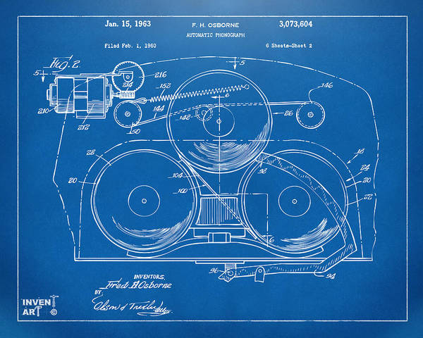 Digital Art - 1963 Automatic Phonograph Jukebox Patent Artwork Blueprint by Nikki Marie Smith