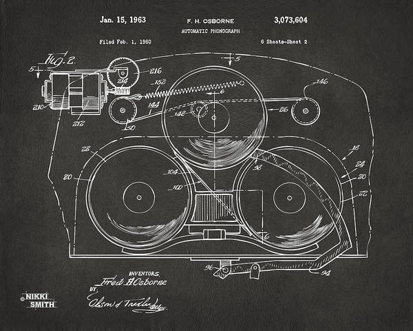 Digital Art - 1963 Automatic Phonograph Jukebox Patent Artwork - Gray by Nikki Marie Smith