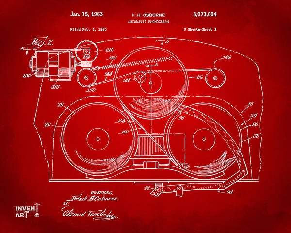 Digital Art - 1963 Automatic Phonograph Jukebox Patent Artwork Red by Nikki Marie Smith
