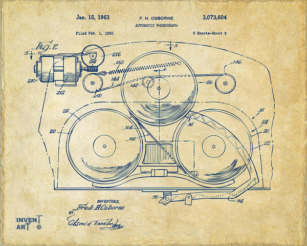 Digital Art - 1963 Automatic Phonograph Jukebox Patent Artwork Vintage by Nikki Marie Smith