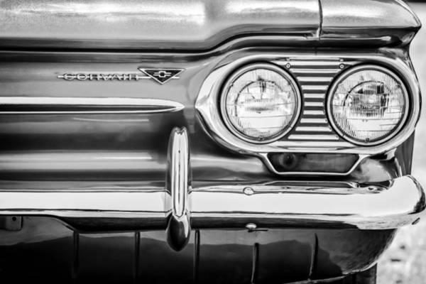 Corvair Photograph - 1963 Chevrolet Corvair Monza Spyder Headlight Emblem -0594bw by Jill Reger