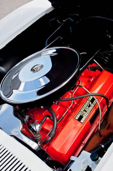 Photograph - 1963 Chevrolet Corvette Split Window Engine -147c by Jill Reger