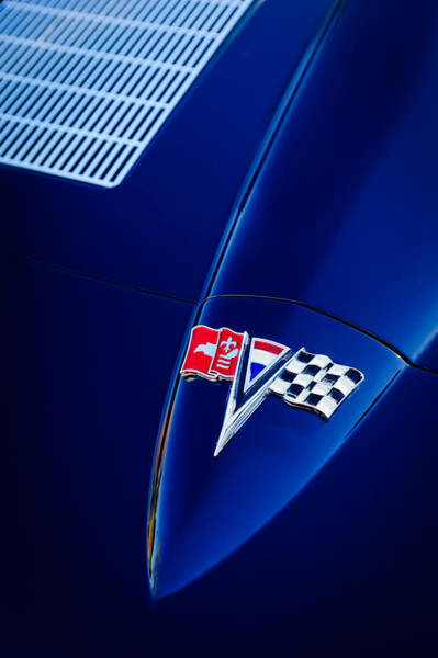 Photograph - 1963 Chevrolet Corvette Sting Ray Fuel Injected Split Window Coupe Hood Emblem by Jill Reger