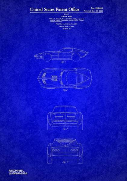 Photograph - 1963 Corvette Stingray Patent  by Doc Braham