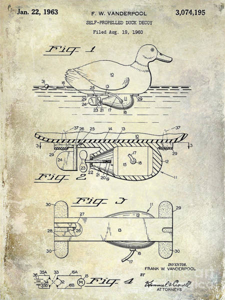 Duck Photograph - 1963 Duck Decoy Patent Drawing by Jon Neidert