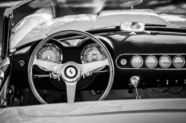 Wall Art - Photograph - 1963 Ferrari Steering Wheel -0274bw by Jill Reger