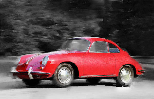 Car Mixed Media - 1963 Porsche 356 C Watercolor by Naxart Studio