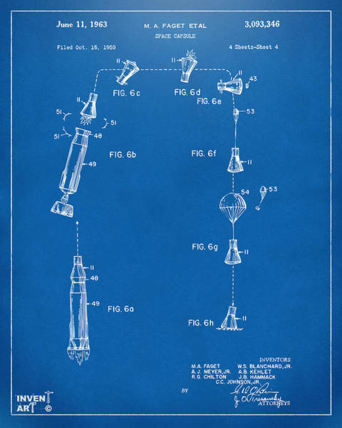 Wall Art - Digital Art - 1963 Space Capsule Patent Blueprint by Nikki Marie Smith