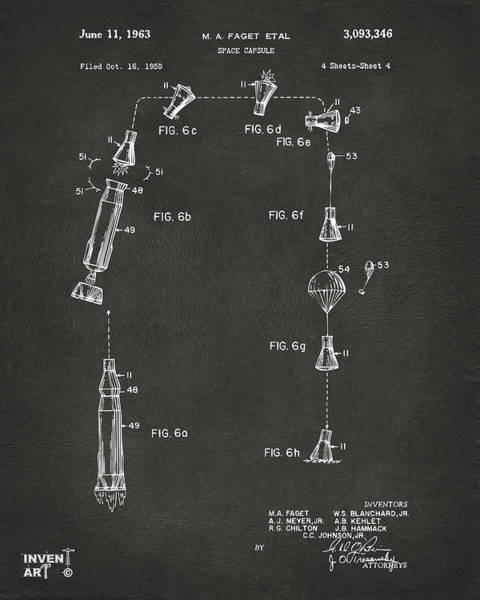 Digital Art - 1963 Space Capsule Patent Gray by Nikki Marie Smith