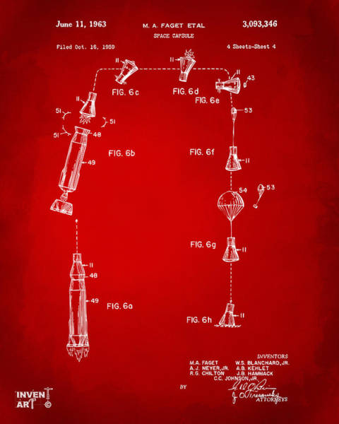 Digital Art - 1963 Space Capsule Patent Red by Nikki Marie Smith