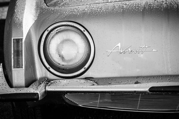 Photograph - 1963 Studebaker Avanti Emblem -0423bw by Jill Reger