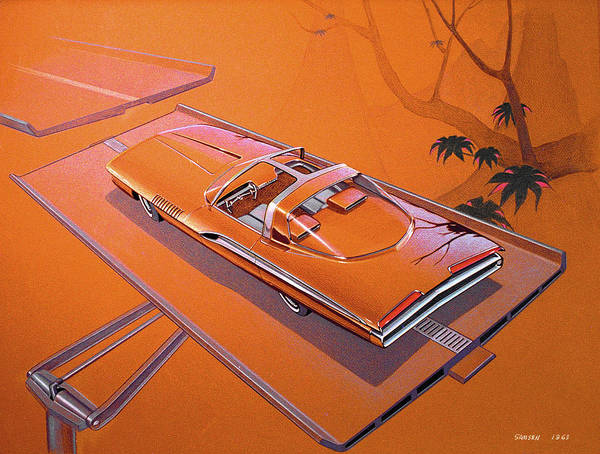 Wall Art - Drawing - 1963 Turbine Show Car  Plymouth Concept Car Vintage Styling Design Concept Rendering Sketch by John Samsen