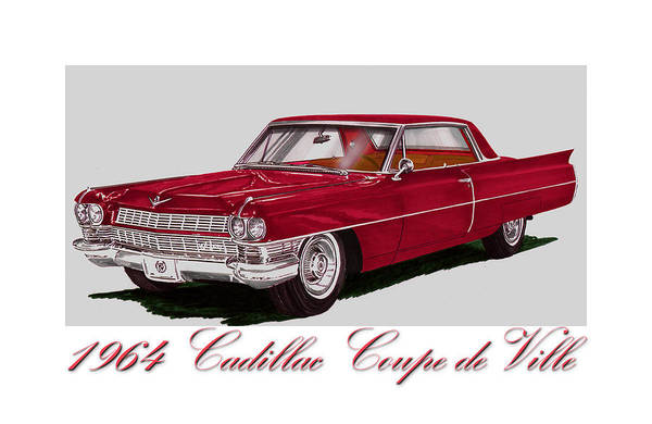 Classic Car Drawings Painting - 1964 Cadillac Coupe De Ville by Jack Pumphrey