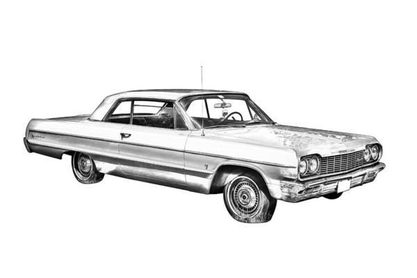 Impala Photograph - 1964 Chevrolet Impala Car Illustration by Keith Webber Jr