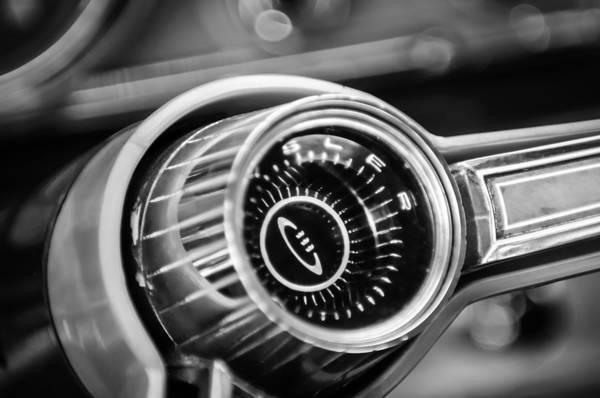 Photograph - 1964 Chrysler 300k Convertible Steering Wheel Emblem -3538bw by Jill Reger