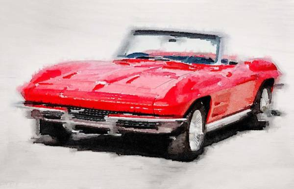 Old Car Wall Art - Painting - 1964 Corvette Stingray Watercolor by Naxart Studio