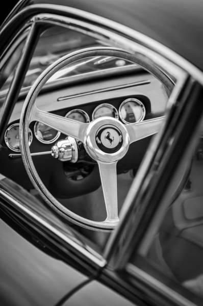 Photograph - 1964 Ferrari Steering Wheel Emblem -0622bw by Jill Reger