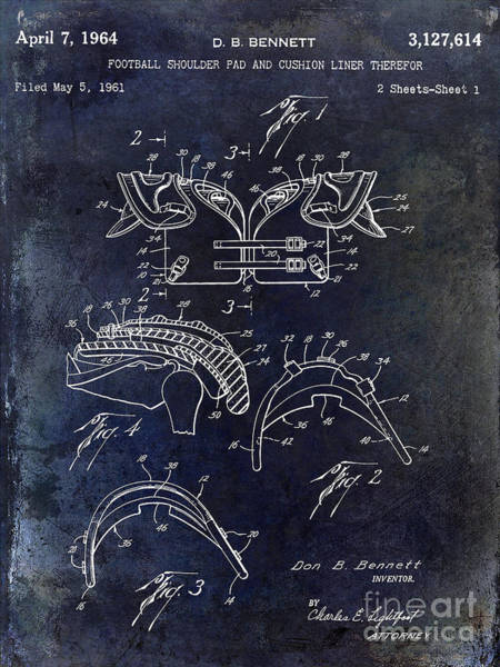 Wall Art - Photograph - 1964 Football Shoulder Pads Patent Blue by Jon Neidert