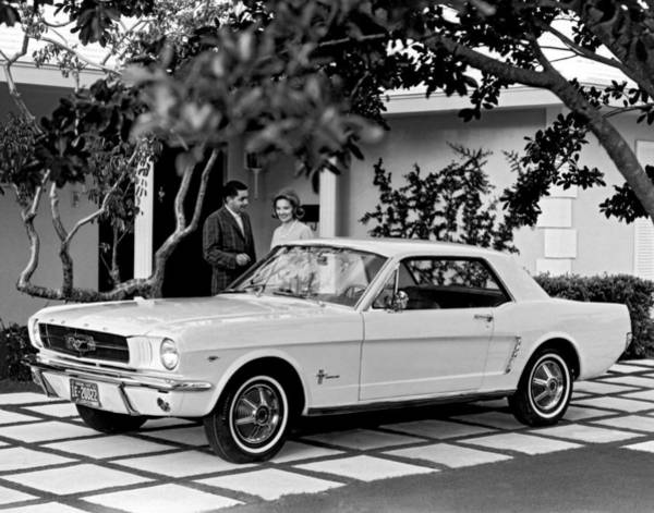 Driveway Photograph - 1964 Ford Mustang by Underwood Archives