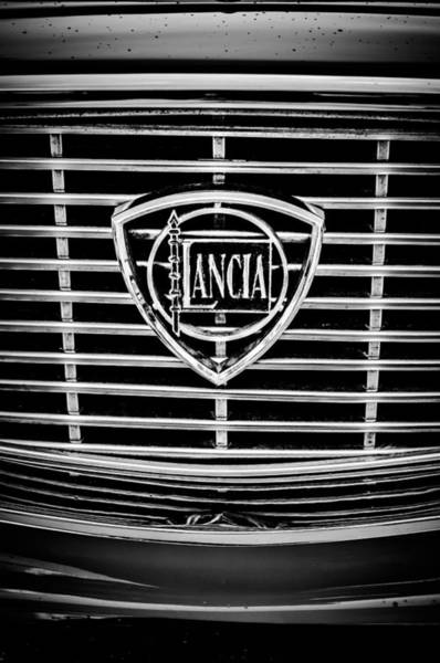 Photograph - 1964 Lancia Flavia Grille Emblem -0105bw by Jill Reger