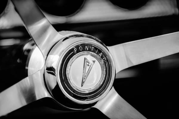 Photograph - 1964 Pontiac Gto Convertible Steering Wheel Emblem -1014bw by Jill Reger