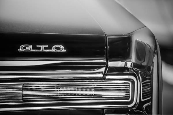 Photograph - 1964 Pontiac Gto Convertible Taillight Emblem -1039bw by Jill Reger