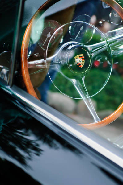 Photograph - 1964 Porsche 356 C Cabriolet Steering Wheel Emblem by Jill Reger