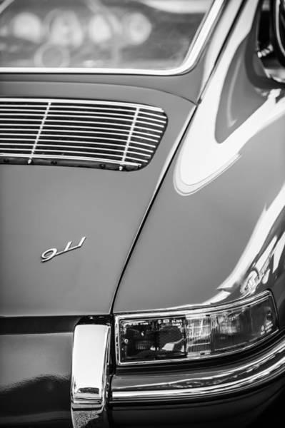 Photograph - 1964 Porsche 911 Taillight Emblem -1391bw by Jill Reger