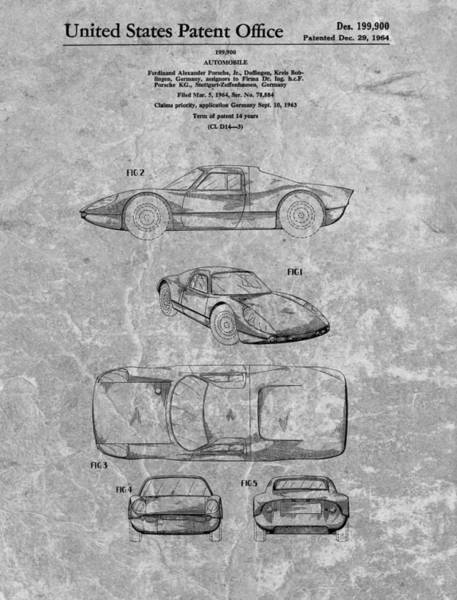Car Drawings Mixed Media - 1964 Porsche Patent Charcoal by Dan Sproul