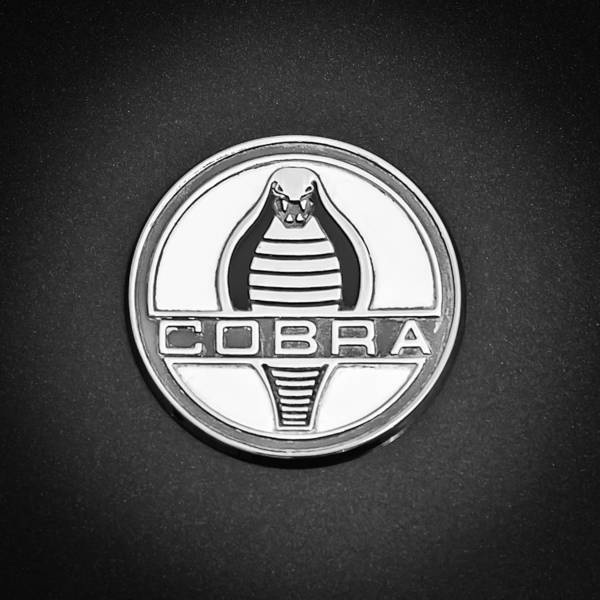 Photograph - 1964 Shelby 289 Cobra Emblem -0088bw by Jill Reger