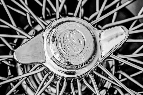 Ac Cobra Wall Art - Photograph - 1964 Shelby 289 Cobra Wheel Emblem -0666bw by Jill Reger
